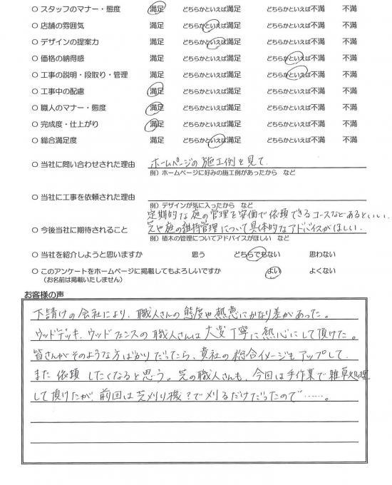 千葉県市川市・外構リニューアル S様評価
