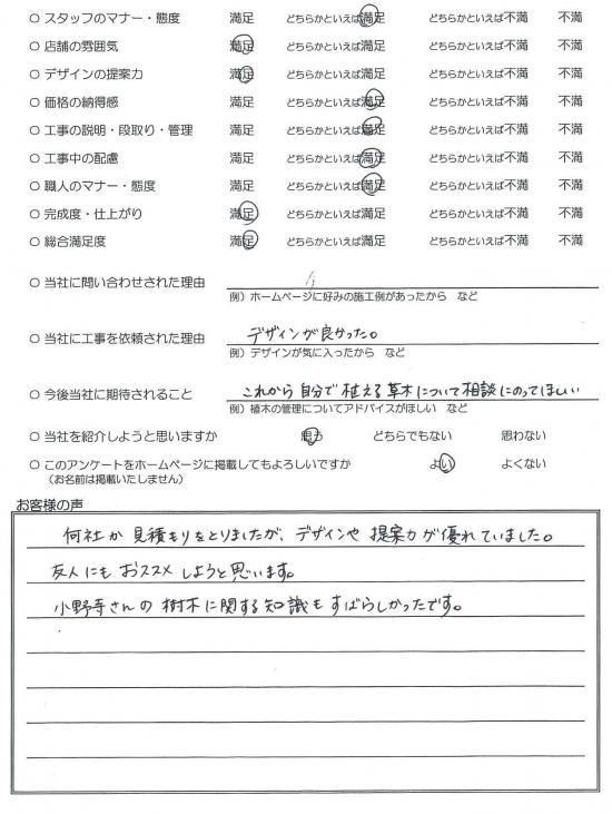 千葉県野田市・外構リニューアル K様評価