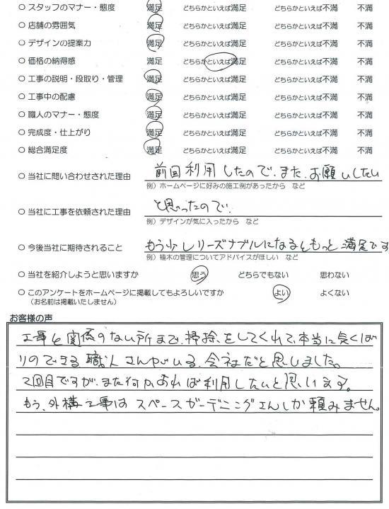 千葉県四街道市・外構リニューアル H様評価