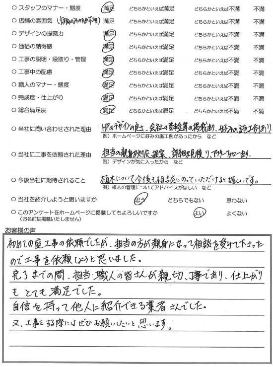 千葉県市川市・外構リニューアル H様評価