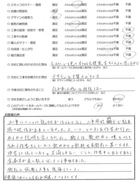 埼玉県川越市・外構リニューアル Y様評価