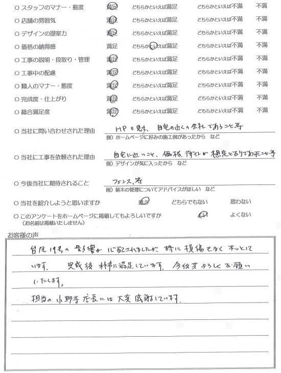 千葉県柏市・外構リニューアル H様評価