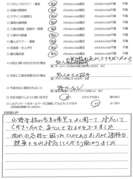千葉県流山市・庭リニューアル Y様評価