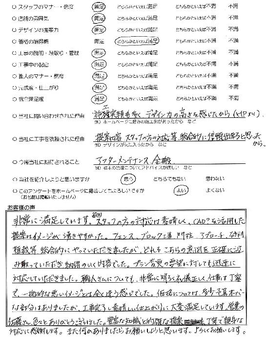 千葉県鎌ヶ谷市・外構リニューアル I様評価