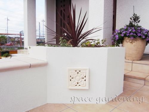 花壇 塗り壁 塀 レリーフ