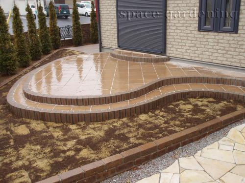 タイルテラス 自然石 コンクリート平板 ミスティ