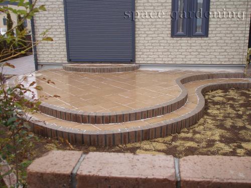 庭 タイルテラス 自然石 コンクリート平板 ミスティ