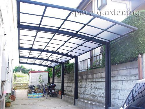 シンプル新築外構 駐車場 車庫 カーポート 大仙 リアルポート 縦2台
