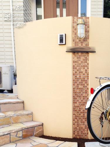 門柱 塗り壁 モザイクタイル