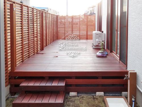 ナチュラルリフォーム庭 ウッドデッキ 木製 アイアンウッド