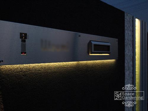 ライトアップ ステンレス表札