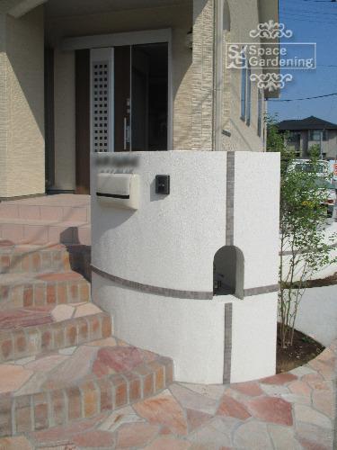 門柱 塗装 モザイクタイル