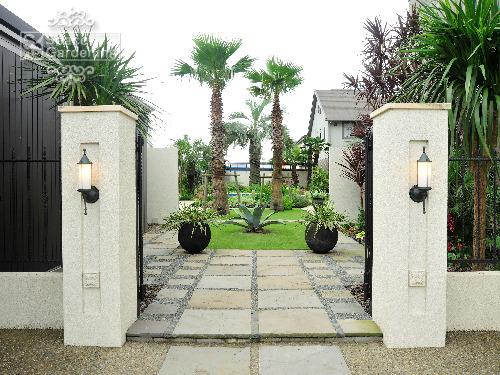 門柱 塗装 アプローチ 自然石