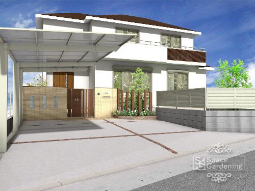 オープン外構デザイン カーポート 土間コンクリート