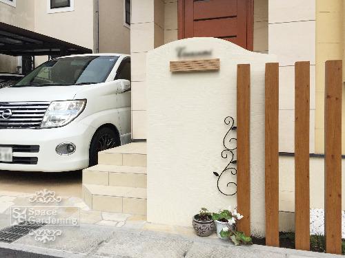 門袖 塗装 角柱 タカショー スリットフェンス用柱材