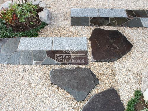 アプローチ 石貼り 鉄平石