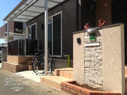 埼玉県川口市 オープン外構 門袖 塗装 タイル