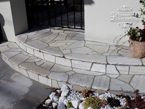 アプローチ 階段 石貼り クォーツサイト