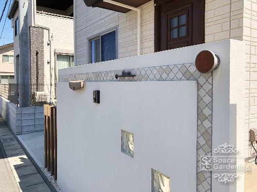 門柱 塗装 ガラスブロック